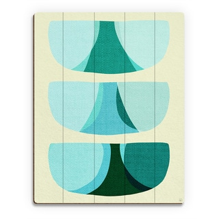 Retro Shape Blue Wood Wall Art Print