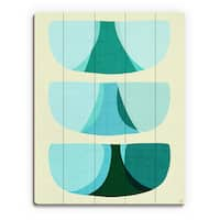Retro Shape Blue Wood Wall Art Print