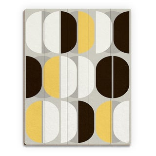 'Retro Sequence Yellow' Wood Wall Art Print