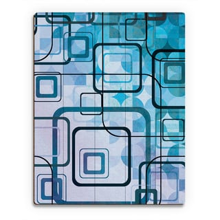 Cerulean Shining Squares Birchwood Wall Art Print