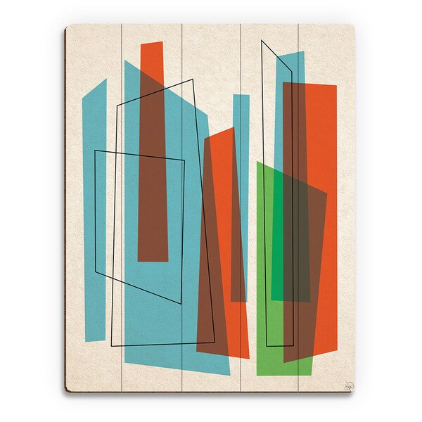 'Broken Skyscrapers Blue & Green' Wood Wall Art