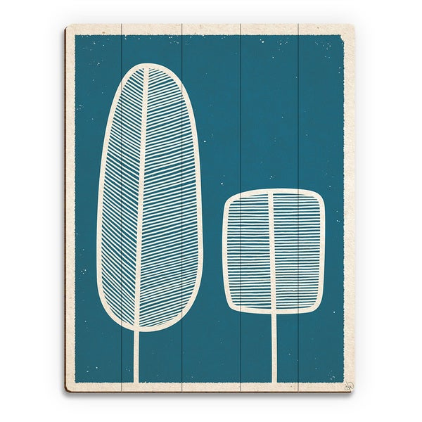 'Feather Trees Blue' Wood Wall Art Print
