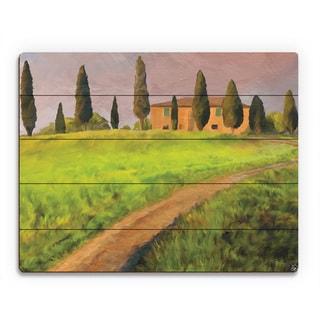 'Tuscany Road' Wood Wall Art Print