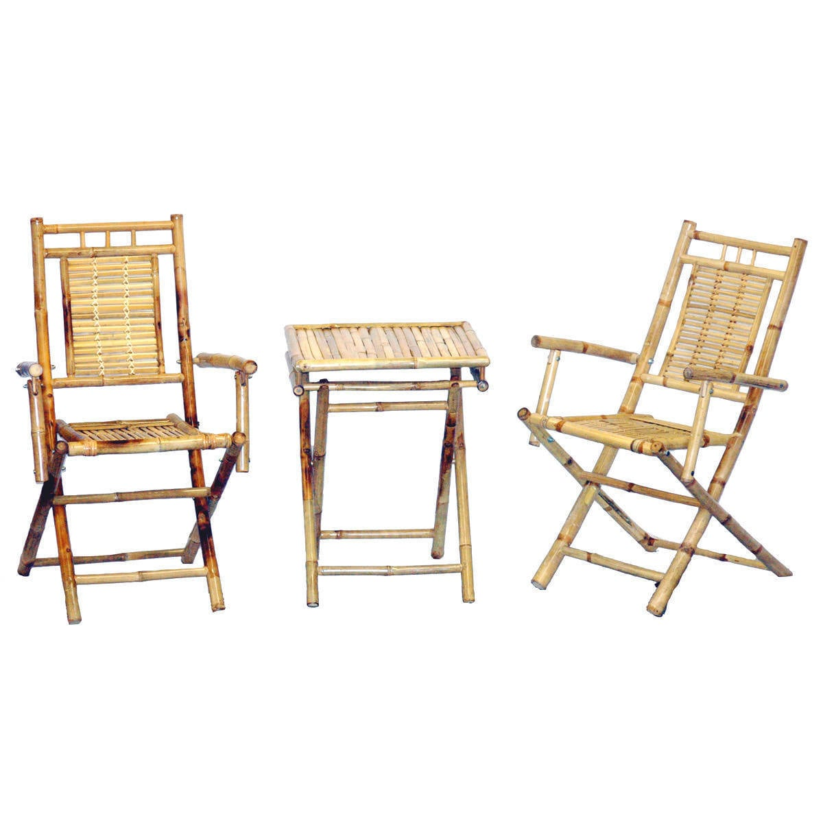 Bamboo 54 3-Piece Chairs and Small Table Set (natural), P...