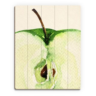 'Up Close Apple' Birchwood Wall Art Print