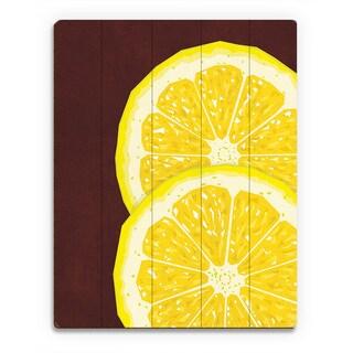 Large Sliced Lemon Red Wall Art Print on Wood