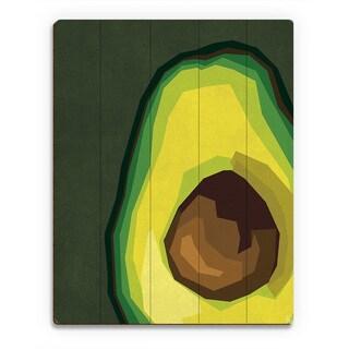 Large Sliced Avocado Green Wall Art Print on Wood