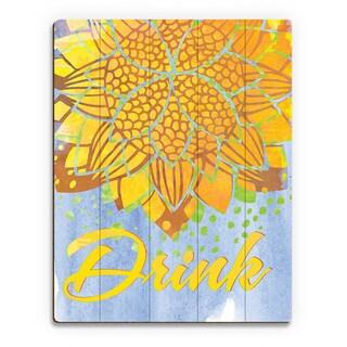 'Lotus Drink' Canary Wood Wall Art Print