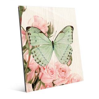 Butterfly and Roses Garden Party Multicolored Acrylic Wall Art