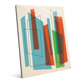 'Broken Skyscrapers' Blue/Green Acrylic Wall Art