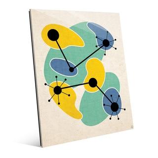 'Life Synthesis' Green and Yellow Printed-Acrylic Wall Art