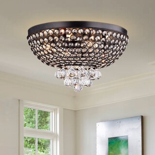 Drimil Antique Bronze Crystal Ceiling Lamp