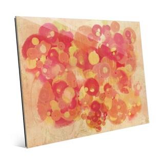 'Crimson Light Spots' Glass Wall Art Print