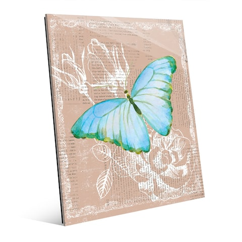 Butterfly on Brown Glass Wall Art Print