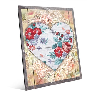 'Red Floral Hearts' Glass Wall Art