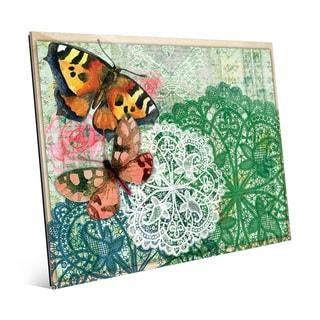 'Aqua Doilies Butterflies' Glass Wall Art Print