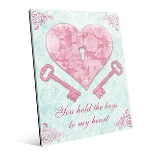 'Keys to My Heart Pink' Glass Wall Art Print