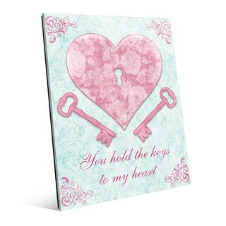 'Keys to My Heart Pink' Glass Wall Art Print