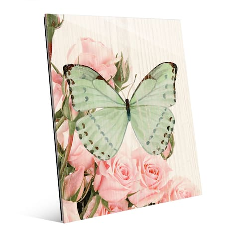 'Butterfly and Roses Garden Party' Glass Wall Art