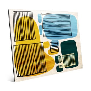 'Squares and Chairs' Glass Wall Art Print