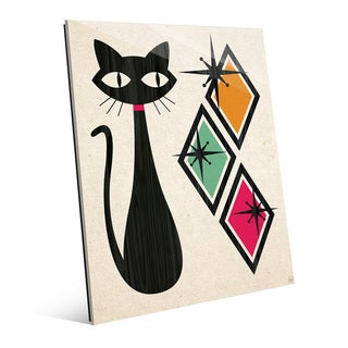 'Retro Cat With Diamonds' Glass Wall Art