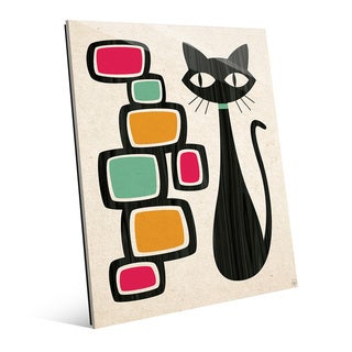 'Retro Cat with Bubbles' Glass Wall Art Print