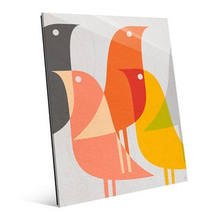 'Retro Bird Caravan' Grapefruit Glass Wall Art