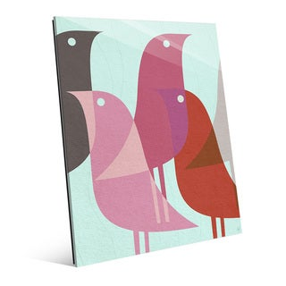 Retro Bird Caravan Pink Glass Wall Art Print