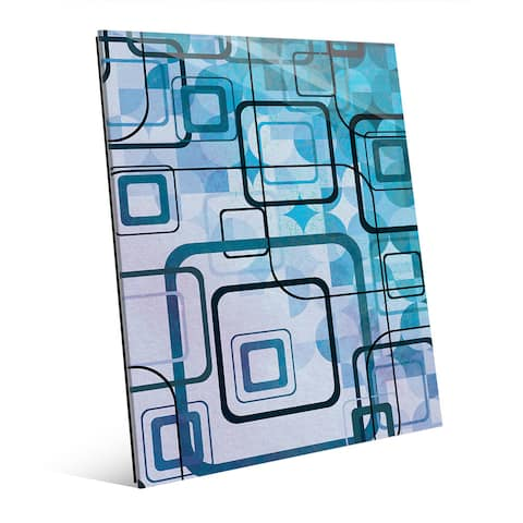 Cerulean Shining Squares Glass Wall Art Print