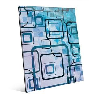 Cerulean Shining Squares Glass Wall Art Print
