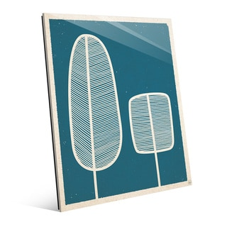 'Feather Trees' Blue Glass Wall Art Print