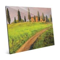 'Tuscany Road' Glass Wall Art Print