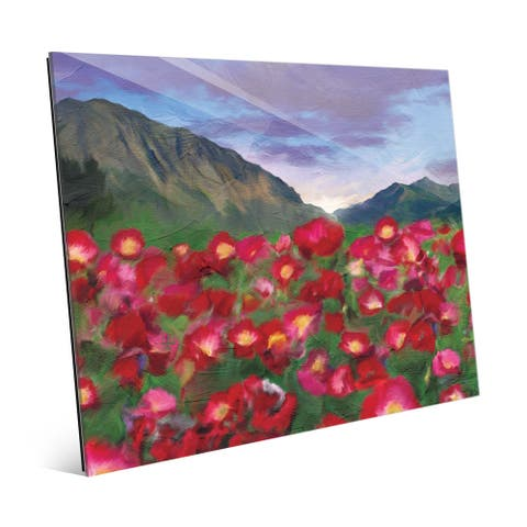 Multicolored Glass Red Mountain Flowers Art Print
