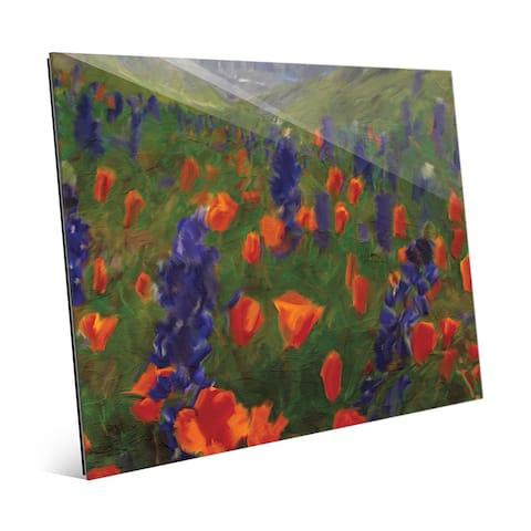 'Alps Flowers' Glass Wall Art Print