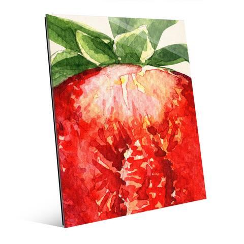 'Up Close Strawberry' Glass Wall Art Print