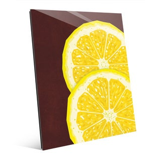Large Sliced Lemon Red Glass Wall Art Print