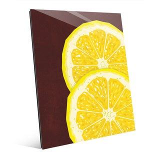 Large Sliced Lemon Red Glass Wall Art Print