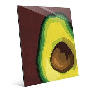 'Sliced Avocado' Red Glass Large Wall Art Print