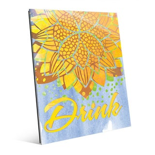 Lotus Drink Canary Wall Art Print on Glass