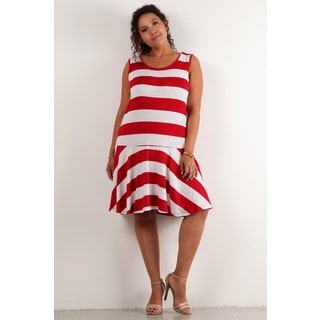 A Plus Style Women's Dropped Waist Midi Dress