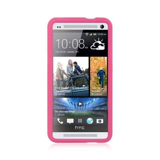 Insten Hot Pink Soft Silicone Skin Rubber Case Cover For HTC One M7