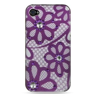 Insten Purple/ White Hard Snap-on Rubber Case Cover with Diamond For Apple iPhone 4