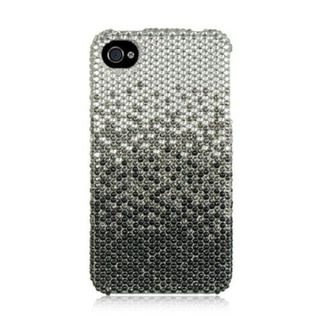 Insten Silver/ Black Hard Snap-on Rhinestone Bling Case Cover For Apple iPhone 4/ 4S