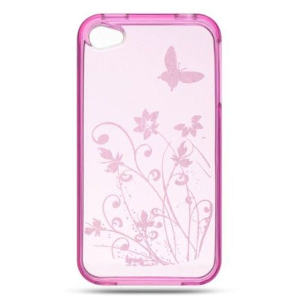 Insten Clear/ Pink TPU Rubber Candy Skin Case Cover For Apple iPhone 4