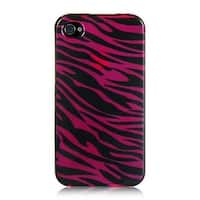 Insten Hot Pink/ Black Hard Snap-on Rubberized Matte Case Cover For Apple iPhone 4/ 4S