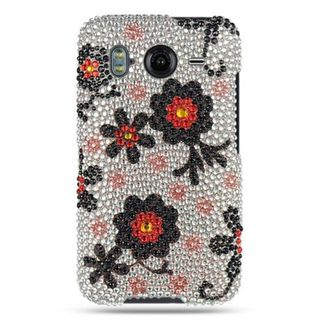Insten White/ Black Hard Snap-on Rhinestone Bling Case Cover For HTC Inspire 4G