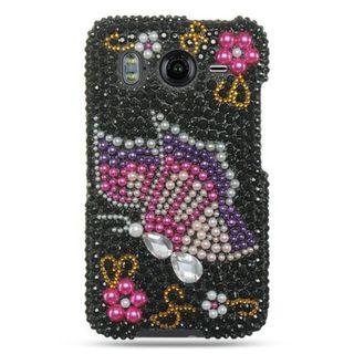 Insten Black/ Pink 3D Hard Snap-on Diamond Bling Case Cover For HTC Inspire 4G