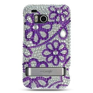 Insten Purple/ White Hard Snap-on Diamond Bling Case Cover For HTC ThunderBolt 4G