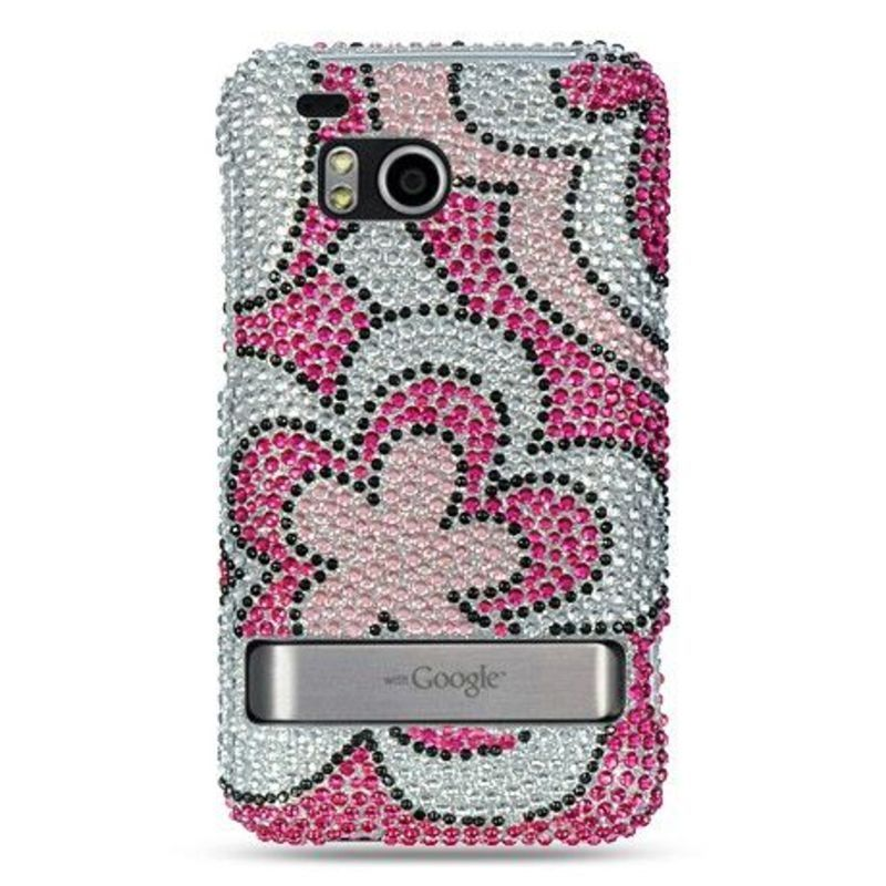 Insten Hot Pink/ White Hard Snap-on Rhinestone Bling Case...