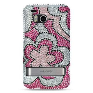 Insten Hot Pink/ White Hard Snap-on Rhinestone Bling Case Cover For HTC ThunderBolt 4G